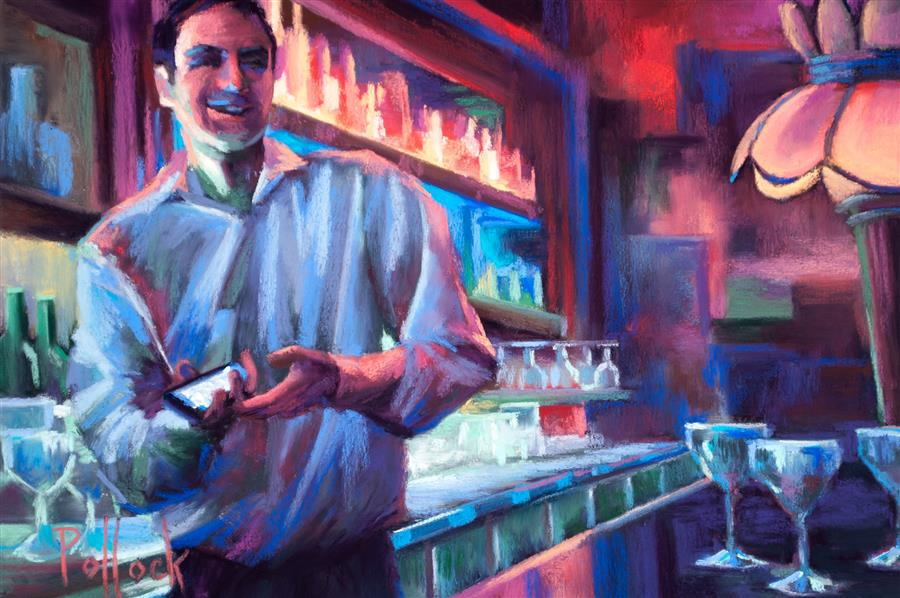 "Barkeep, London (8"" x 12"") by Sarah Pollock, pastel artwork"