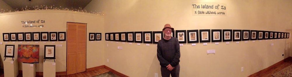 Doug Lawler at the Island of Za series gallery exhibition