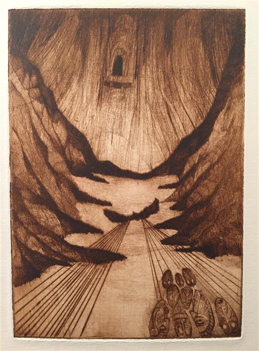 "Hole in the Wall (10"" x 8"") by Doug Lawler, printmaking on paper"