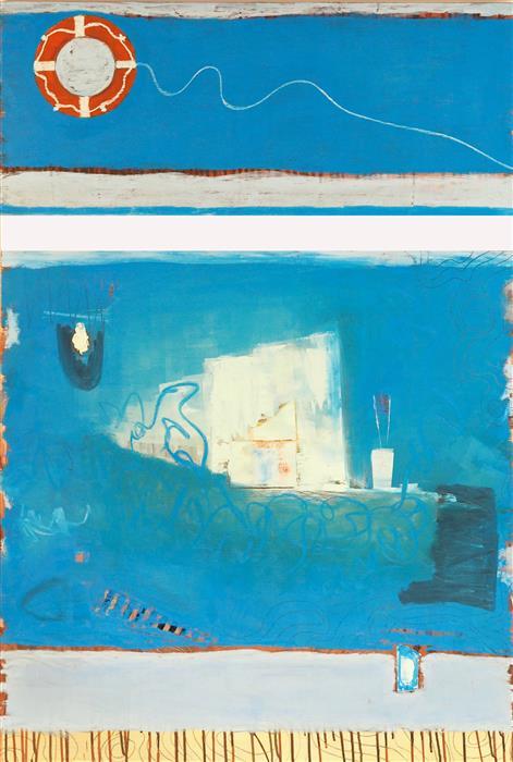 "Water Preserver  (48"" x 34"") by Leslie Morgan, mixed media artwork"