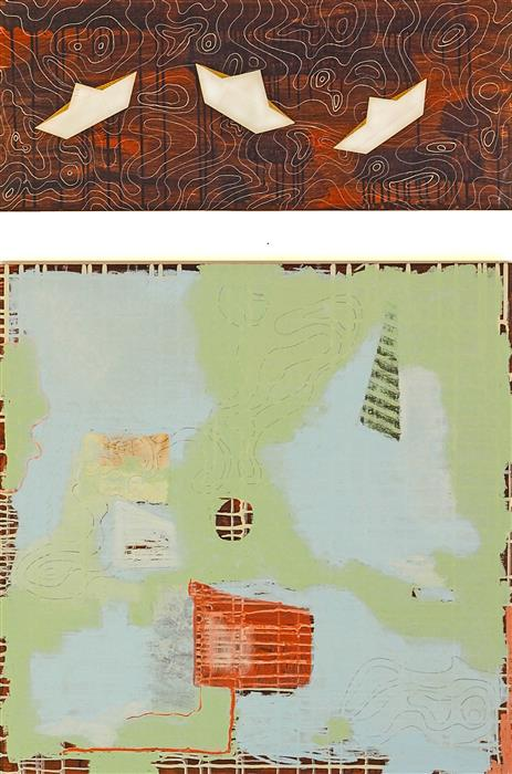 "Boat House  (48"" x 34"") by Leslie Morgan, mixed media artwork"