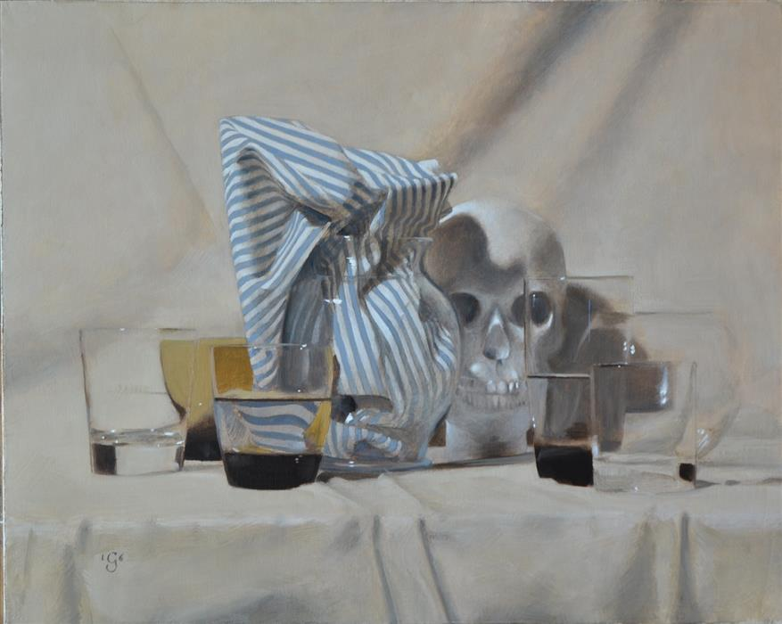 "Vanitas with Stripes  (16"" x 20"") by Christopher Garvey, oil painting"