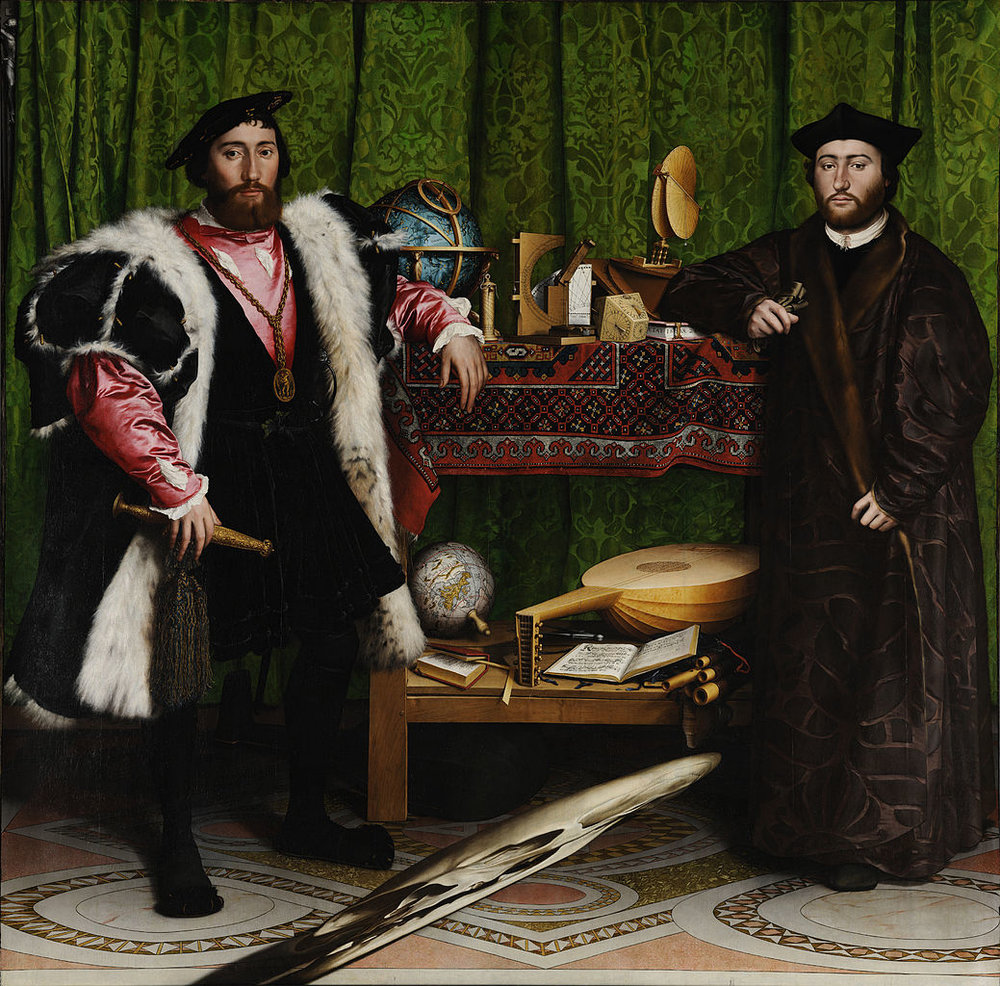 "Double Portrait of Jean de Dinteville and George de Selve (""The Ambassadors""), (1533). Oil and tempera on oak, National Gallery, London."