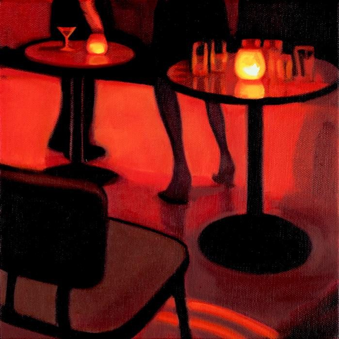 "Legs At The MakeOut Room (10"" x 10"") Hadley Northrop, oil painting"