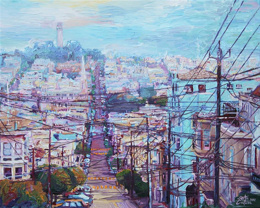 "Web of Wires, Leavenworth and Filbert, San Fransisco (16"" x 20"") by Seth Couture, acrylic painting"