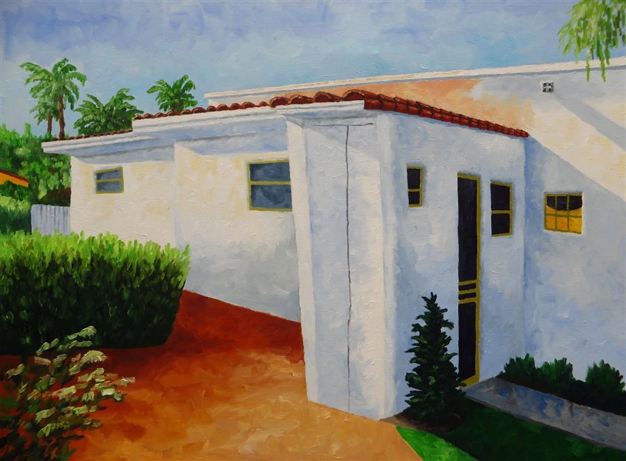 "Brick Patio  (30"" x 40"") by Mitchell Freifeld, oil painting"