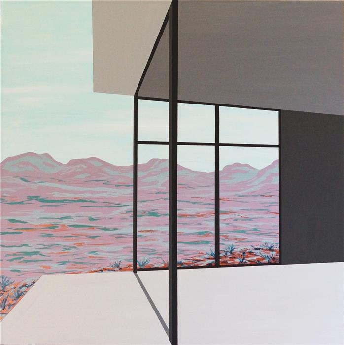 """A New Beginning (Architected Landscape 19) (36"""" x 36"""") by Jessica Ecker, acrylic painting"""