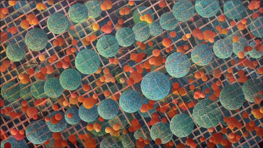 """Particles and Waves  (36"""" x 64"""") by Philip Harding, mixed media artwork"""