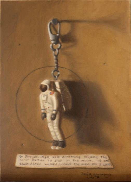 "The Astronaut (7"" x 5"") by Jose H. Alvarenga, oil painting"