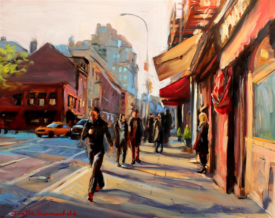 "Friday Evening in Greenwich Village  (16"" x 20"") by Jonelle Summerfield, oil painting"