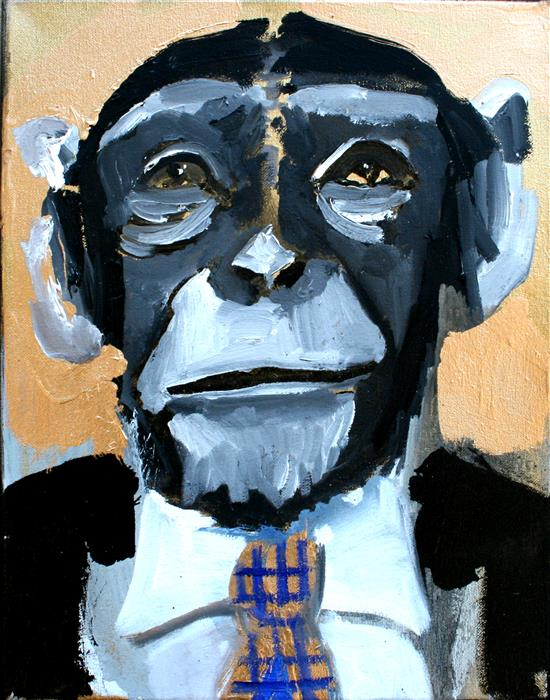 "A Checkered Tie Chimp  (14"" x 11"") by Scott Dykema, mixed media artwork"