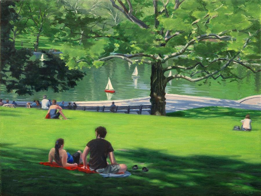 "Central Park - Sunny Afternoon  (18"" x 24"")   by Nick Savides, oil painting"