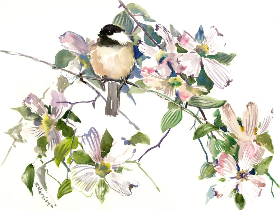 "Enjoyment, Chickadee and Dogwood Flowers  (12"" x 16"") by Suren Nersisyan, watercolor"