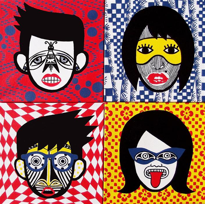 "Heads (20"" x 20"") by Danielle Siegelbaum, acrylic painting"