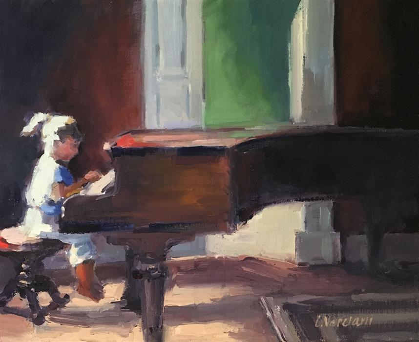 "Little Musician (11"" x 14"") by Claudia Verciani, oil painting"