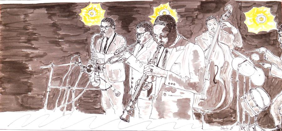 "Jazz Band Playing  (7.6"" x 16.5"") by Orlando Marin-Lopez, ink artwork on paper"