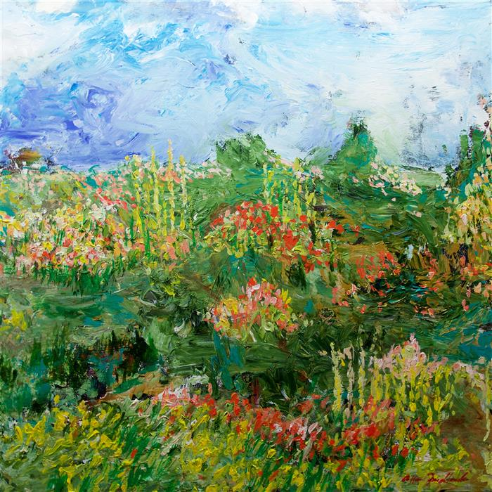 "Garden of Delight  (36"" x 36"") by Allen P. Friedlander, acrylic painting"