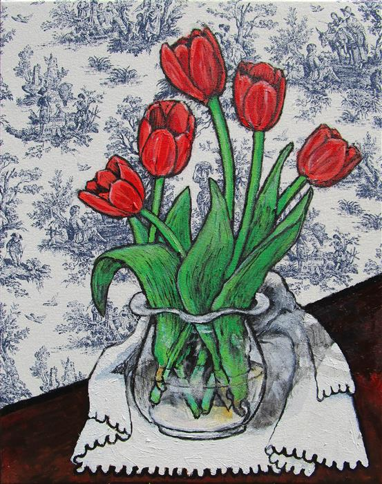 "Red Tulips  (20"" x 16"") by Greg Angelone, acrylic painting"