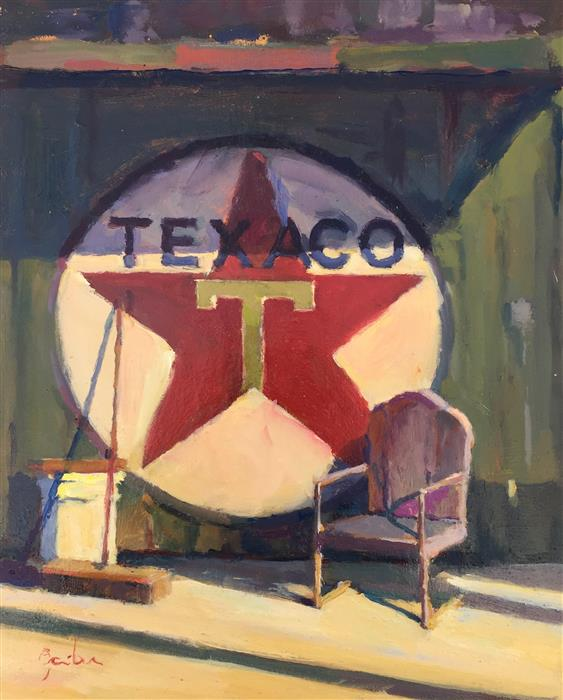 "Texaco Still Life  (11"" x 9"") by George Scribner, oil painting"