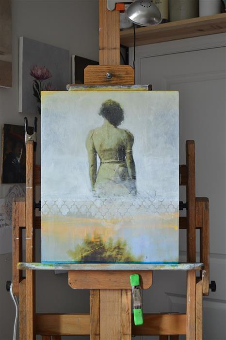 "Photo of   Apparition  (20"" x 16"") by Christopher Garvey, mixed media artwork  on easel"