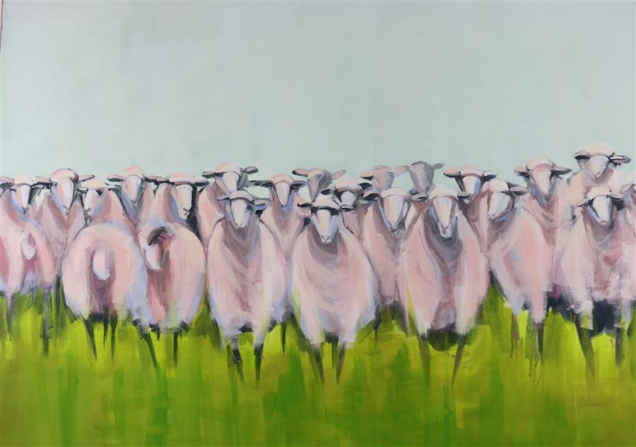 "Class Reunion  (30"" x 40"")  by Lesli DeVito, acrylic painting"