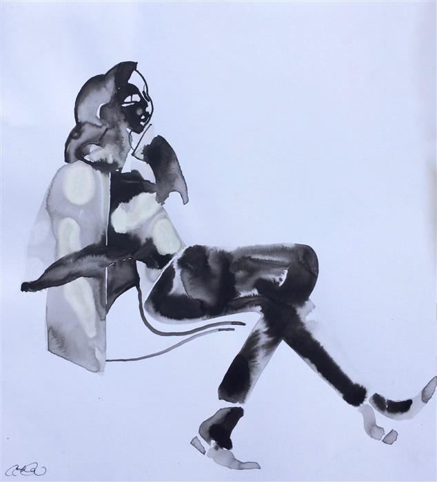 "Sit (15.5"" x 14"") by Annelise LaFlamme, ink artwork on paper"