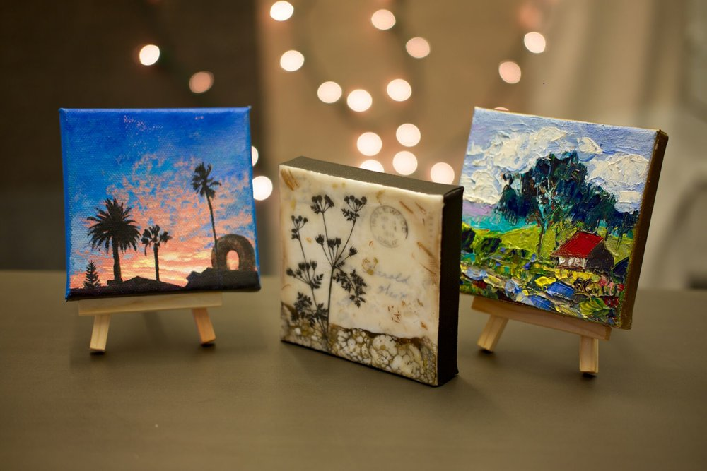 Mini artworks by Jesse Aldana (L), Shannon Amidon (C), and James Hartman (R) from  The Ornamental Artwork Collection .