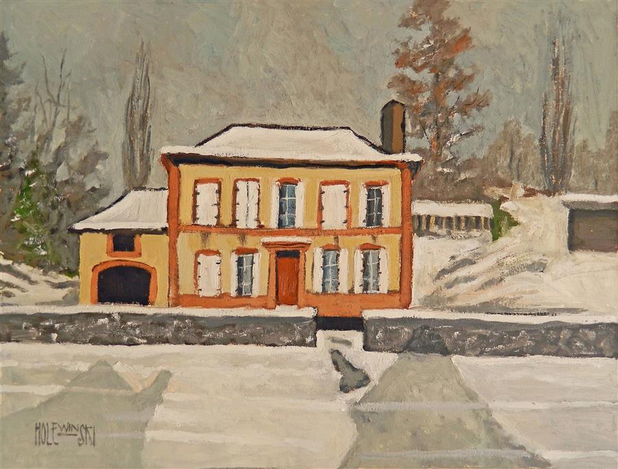 "House Near Moyeuvre-Grande  (17"" x 23"") by Robert Holewinski, oil painting"