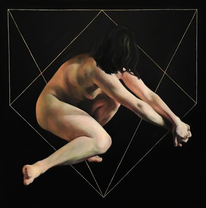 "Cut (30"" x 30"") by Camilla Marie Dahl, oil painting"