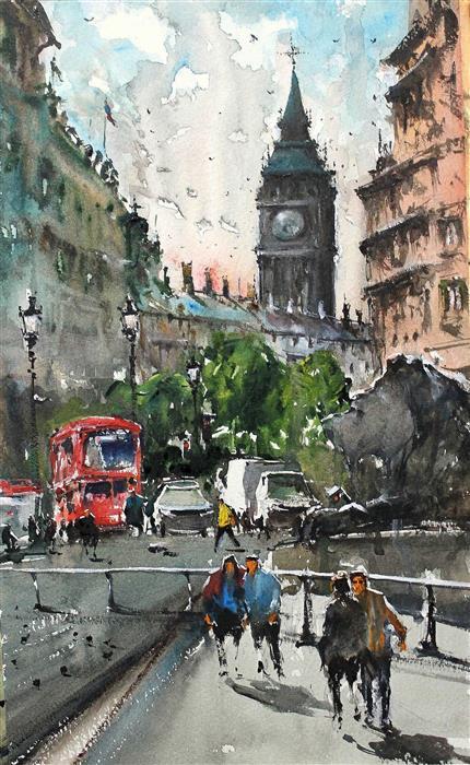 "Rush in Trafalgar  (15.5"" x 9.5"") by Maximilian Damico, watercolor"