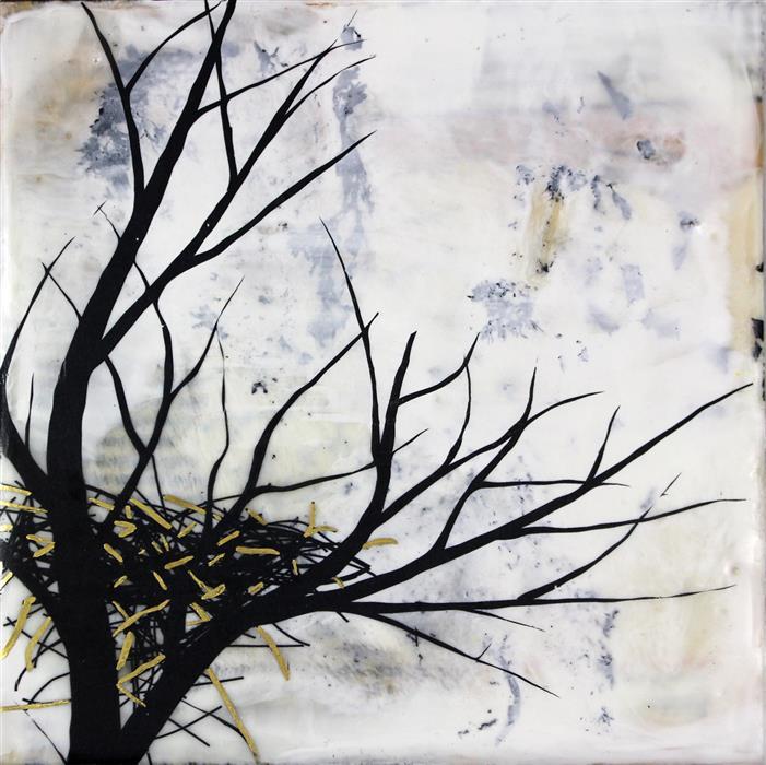 "New Beginnings (6"" x 6"") by Shannon Amidon encaustic artwork"