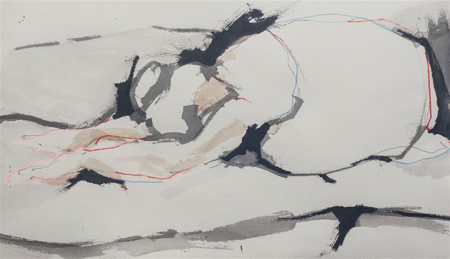 """Child's Pose (Study) (14.5"""" x 25.5"""") by Geoffrey Stein, ink on paper"""
