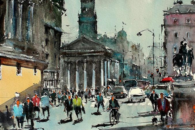 "Morning in Trafalgar  (15"" x 11"") by Maximilian Damico, watercolor"