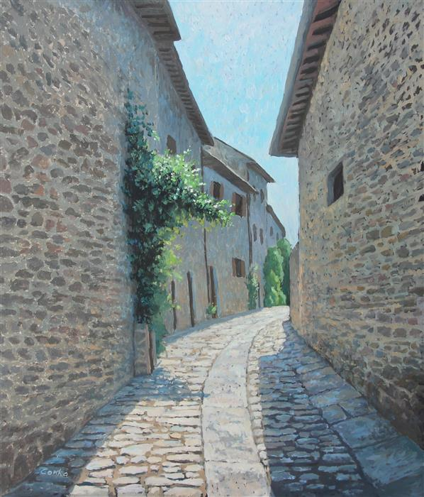 "Street in Cortona Italy (29.5"" x 25.5"") by Stefan Conka, oil painting"