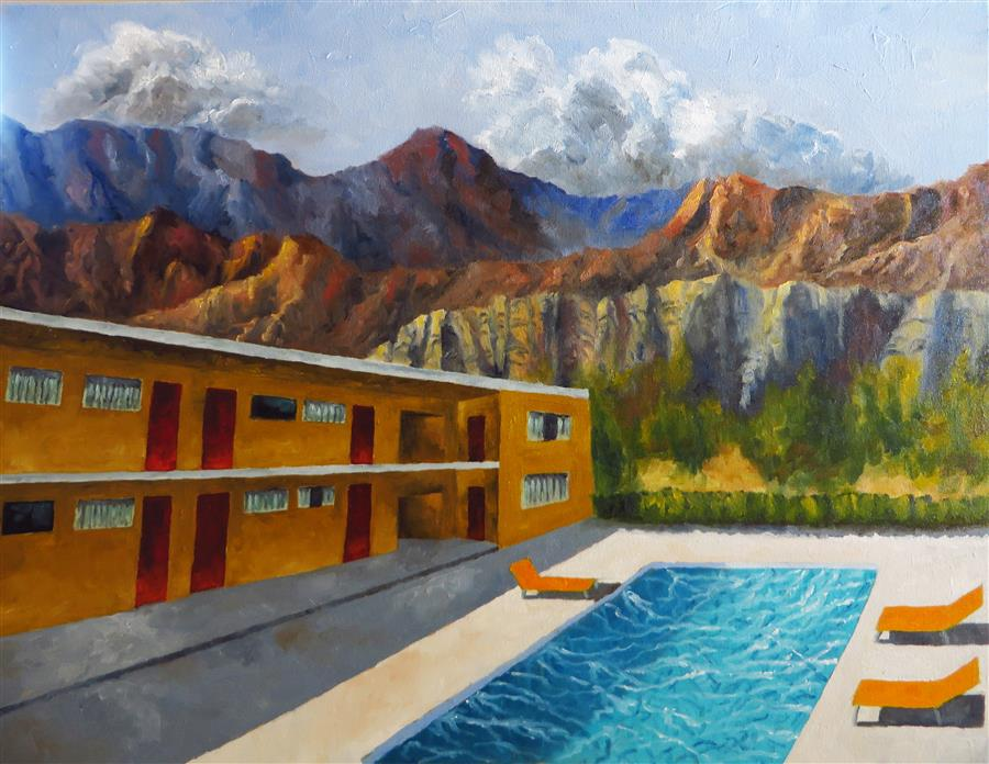 "Elephant Rock Motel (25"" x 30"") by Mitchell Freifeld, oil painting"