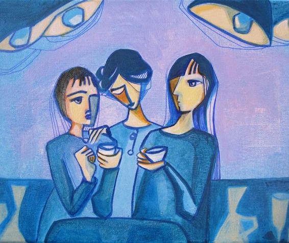 "Coffee At Night  (9"" x 12"") by Diana Elena Chelaru, acrylic painting"