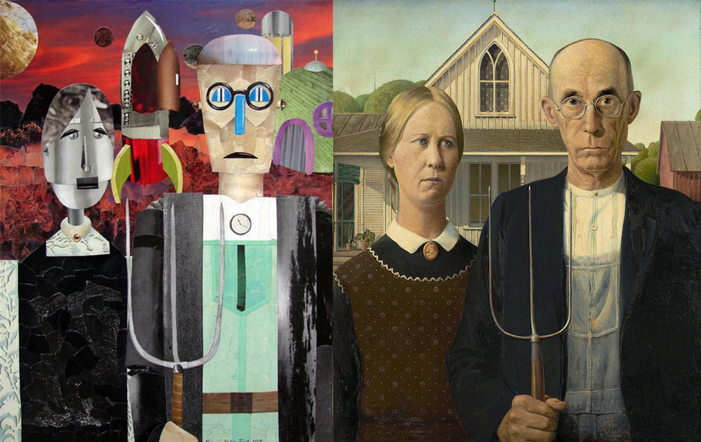 "The Final Frontier  (16"" x 12"")   by Diane Flick, mixed media artwork   next to  American Gothic  by Grant Wood"