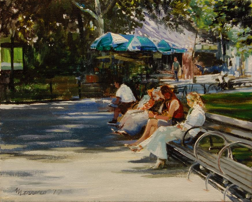 "Breakfast In Central Park  (8"" x 10"") by Onelio Marrero, oil painting"