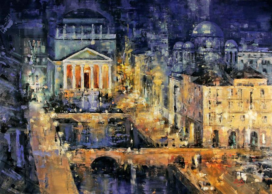 "City Roofs  (28"" x 40"") by Sandra Zekk, oil painting"