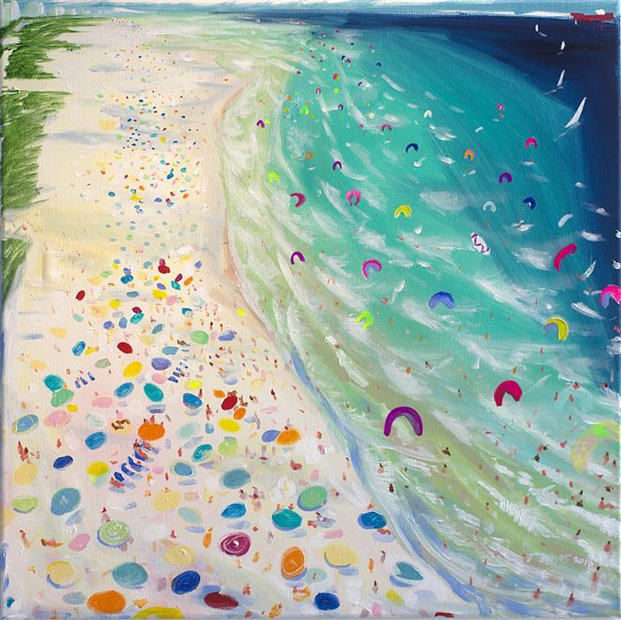 "Kite Board Beach  (24"" x 24"") by Joe Davis, acrylic painting"