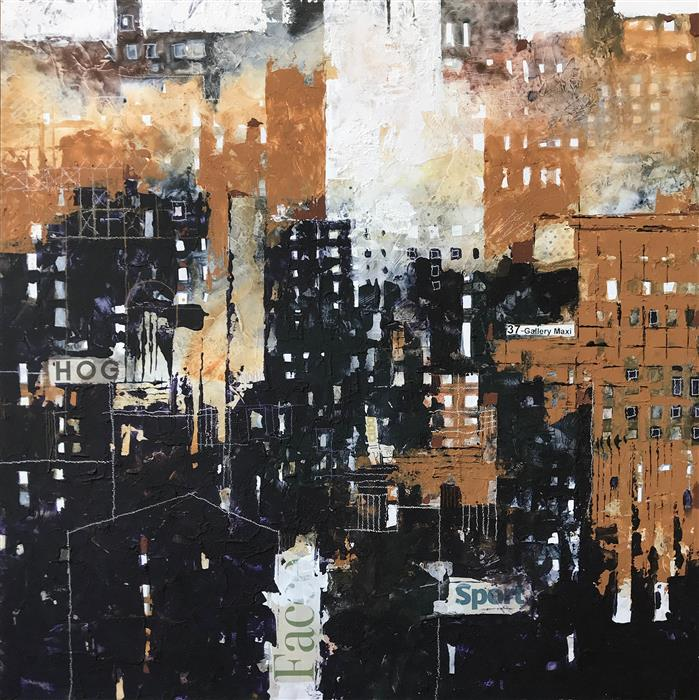"Fantastic Cities: Gallery Maxi  (20"" x 20"") by Alessandro Andreucetti, mixed-media artwork"