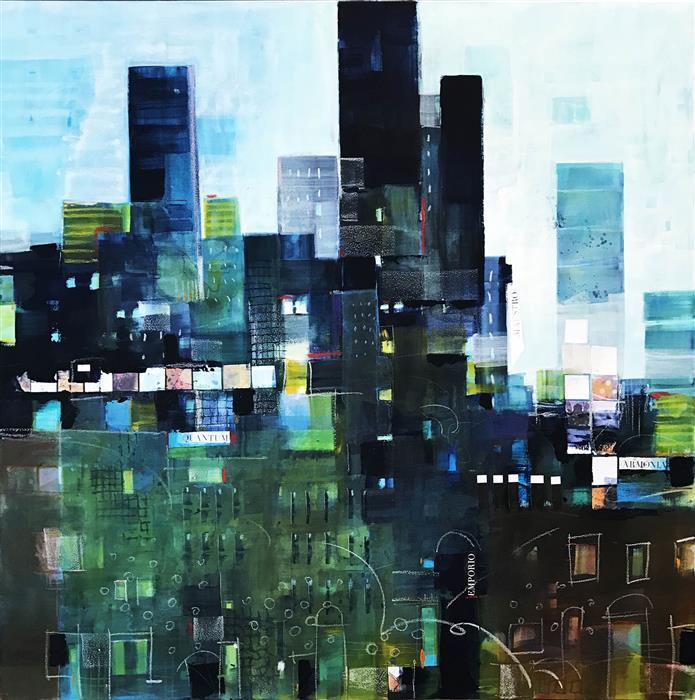 """La Citta Sale  (27.55"""" x 27.55"""")  by Alessandro Andreuccetti, mixed media artwork"""
