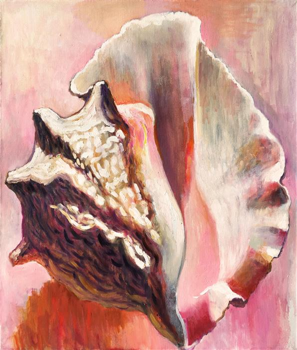 "Sensual Seashell  (27.5"" x 23.6"") by Petr Ldin, oil painting"