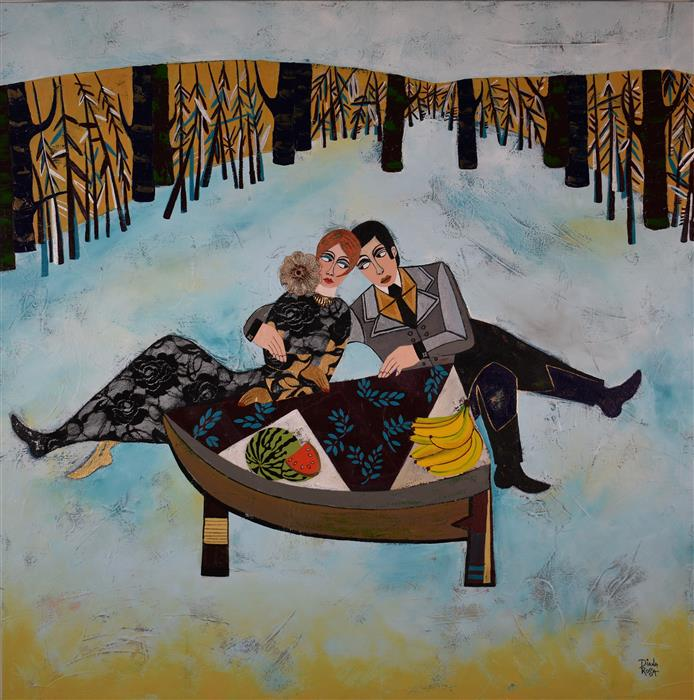 "Picnic Day  (40"" x 49"") by Diana Rosa, acrylic paint, fabric, and metal jewelry."