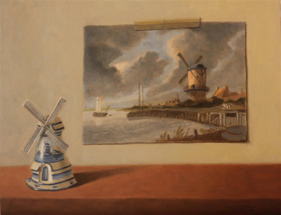 "Windmills  (14"" x 18"") by Jose H. Alvarenga, oil painting"