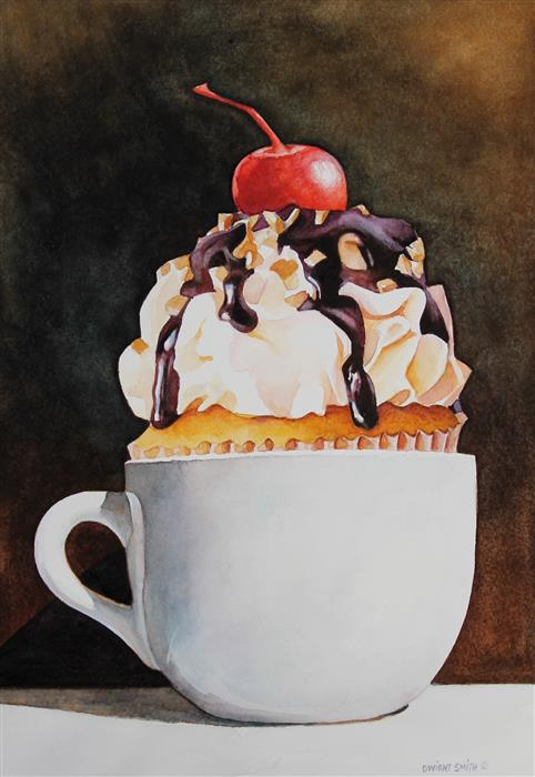 "With Cream and Sugar  (7"" x 10"")   by Dwight Smith, watercolor"