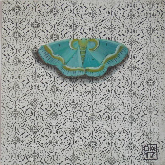 "Embroidered Aqua Moth  (6"" x 6"") by Dana Aldis, acrylic painting"