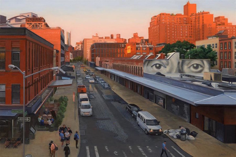 "View from the Highline at Sunset  (24""  x 36"")   by Nick Savides, oil painting"