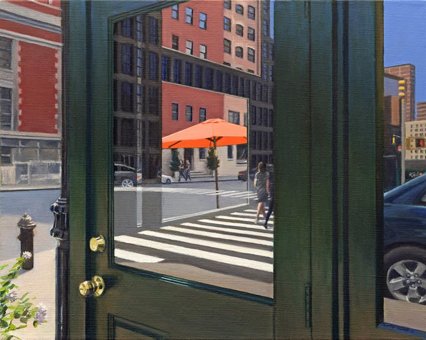 "Crosswalk Reflections  (16"" x 20"") by Nick Savides, oil painting"