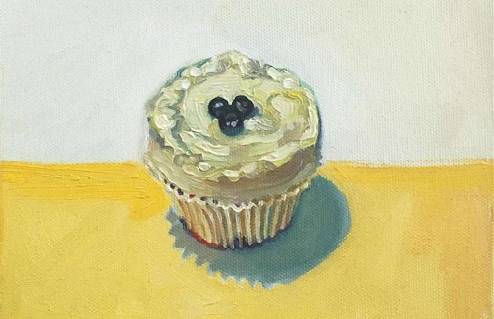 "Lemon Ottolenghi Cake  (8"" x 8"") by Carl Grauer, oil painting"